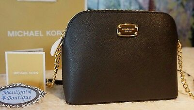 NWT MICHAEL KORS CINDY LARGE Dome CROSSBODY Bag Saffiano Leather In BLACK $228