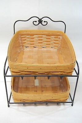 Longaberger Wrought Iron Two Tier w/Paper Tray Baskets & Protectors 2000