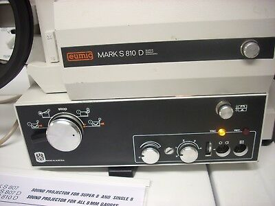 Eumig Mark S 810 D: Dual 8 Sound Motion Picture Projector In Top Order W/ Manual