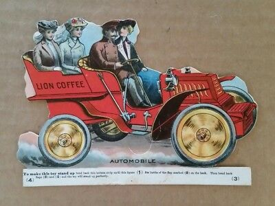 Lion Coffee Automobile Stand Up Trade Card,1900's