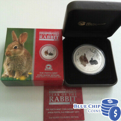2011 $2 YEAR OF THE RABBIT 2oz COLOURED SILVER COIN ANDA SHOW NUMBERED 777