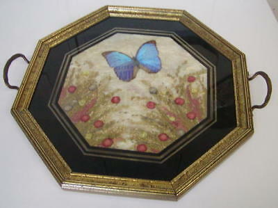 Vintage Butterfly Wing Tray Beautiful Gold & Black Trim