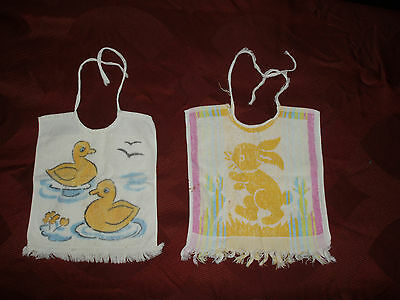 Lot Of 2 Vintage German Baby Bibs Ducks / Rabbits
