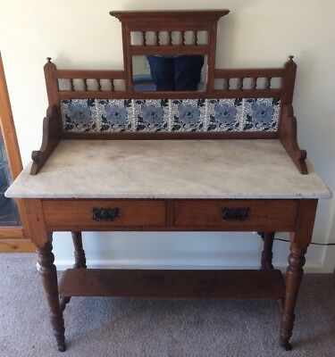 Antique Washstand with Marble Top and Tile Splashback, c1890's