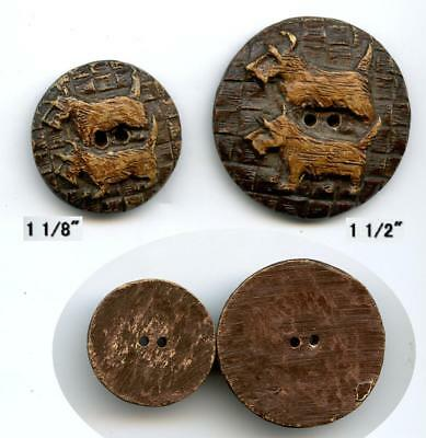 "2 BURWOOD SCOTTY DOGS vintage buttons 1 1/2"" & 1 1/8"" sew thru circa 1930's"