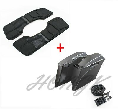 """4"""" Stretched Unpainted Saddlebags & Lid Organizer Set For 94-13 Harley Touring"""