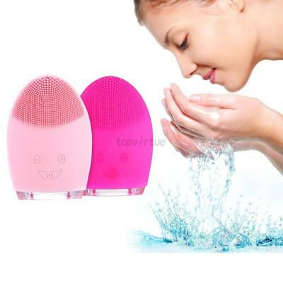 AU Silicone Electric Face Cleansing Brush Facial Skin Deep Cleaning Massager