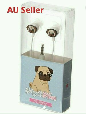 Pugs & Kisses Pug Dog Ear Wave Earpods Headphones Earphones Valentines Gift