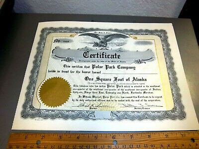 vintage One Square foot of Alaska certificate from the 1970s, Great Graphics!