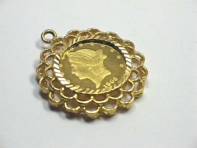 3.8g Pendant 22K GOLD Liberty Head/Eagle Medallion Nice Bezel for Necklace/Chain