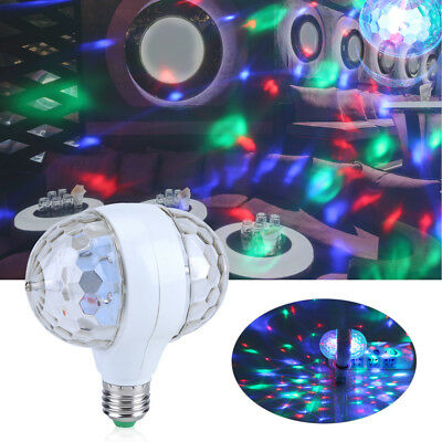 E27 RGB LED DJ Disco Stage Lights Ball Bulb 2-Head Rotating Party Effect Lamp