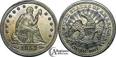 <-1853-> with arrows Seated Liberty Quarter MS BU UNC rare old type coin money