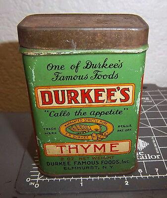 Vintage Durkees THYME 2 oz spice tin, great graphics & colors, unusual colors