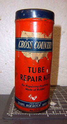 vintage sears Cross Country tire tube repair kit, metal, great colors & graphics