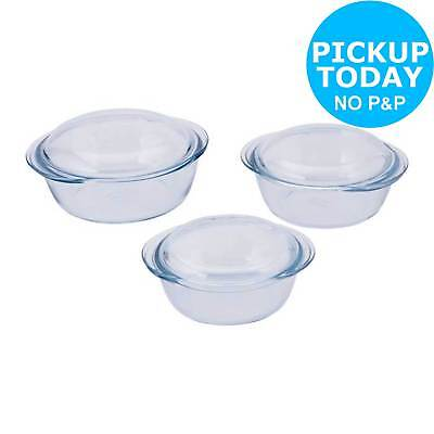 Pyrex 3 Piece Clear Glass Casserole Set. From the Official Argos Shop on ebay