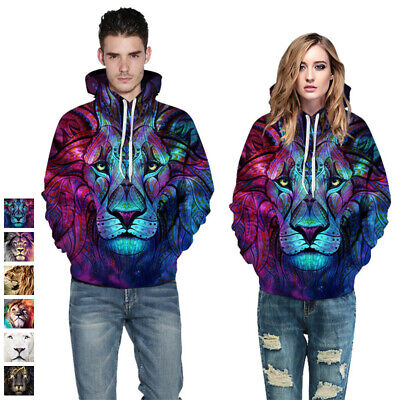 5c00b8dc2 WOMEN MEN 3D LION Zipper Couple Hoodies Sweater Cool Jacket Sweaters ...