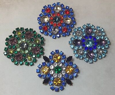 Lot of 4 Vintage Brooch Pins Prong Set Chaton Rhinestones, Blue Green Red