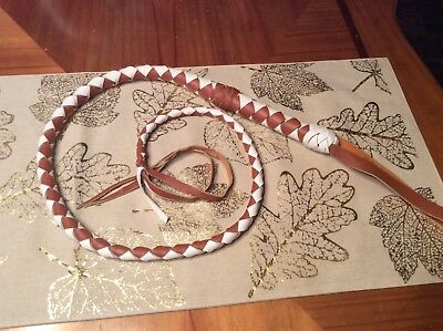 Indiana Jones Leather Whip.  4 Ft Leather, Braided Whip New Without Tags
