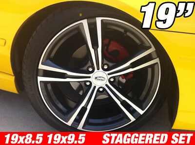 4 x GT335 19 inch Argent Machined STAGGERED Wheel Ford Falcon AU BA BF FG FPV RS
