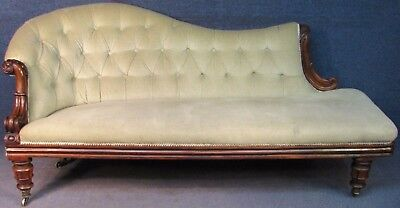 William IV Solid Rosewood Framed Chaise Lounge / Sofa