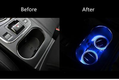 2pcs Car SUV Solar Cup Holder Bottom Pad LED Light Cover Trim Lamp For Peugeot