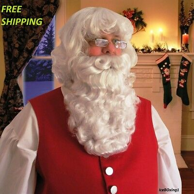 Deluxe Santa Claus Beard And Wig Set Christmas Fancy Dress Costume Accessory New