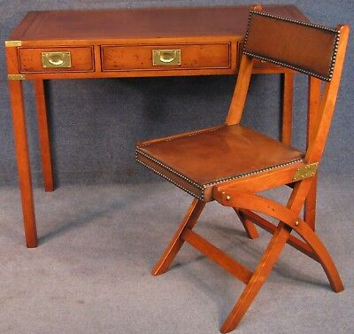 Campaign / Military Style Yew Wood Leather Top Desk / Writing Table With Chair