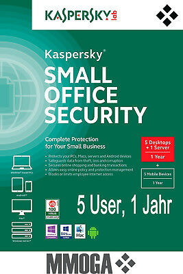Kaspersky Small Office Security 4 - 1 Fileserver 5 Workstations 5 mobil - 1 Jahr