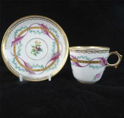 ANTIQUE FRENCH HAND PAINTED PORCELAIN CUP & SAUCER WREATHES RIBBONS LIMOGES b