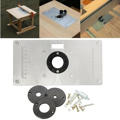 US Aluminum Router Table Insert Plate + 4 Rings Screws for Woodworking Benches