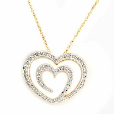 0.43 Cttw Round Natural Diamond Heart Pendant 14K Rose Gold Over Sterling Silver