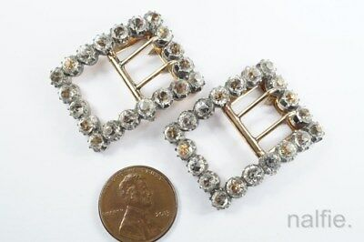 QUALITY PAIR of ANTIQUE ENGLISH SILVER & GOLD FOILED PASTE SHOE BUCKLES c1820