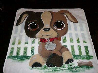 New Hand-painted Handmade Baby Nursery Decorative Pillow Cover Little Puppy Dog