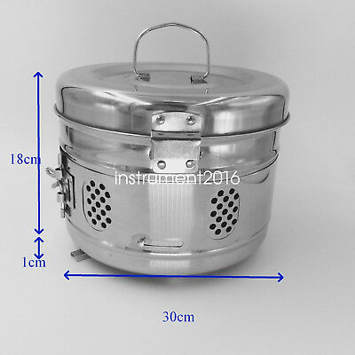 Stainless steel surgical medical instrument sterilization tray storage case 30cm