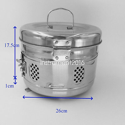 Stainless steel surgical medical instrument sterilization tray storage case 26cm