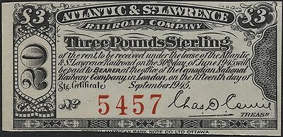 1875 Atlantic and St. Lawrence Railroad Company $3 Bond Interest Coupon