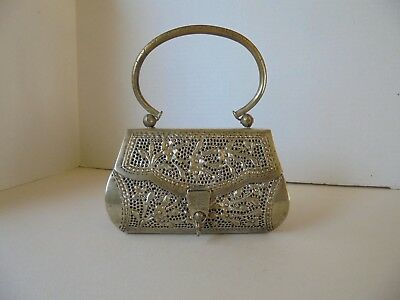 Vintage Small Silver Tone Metal Filigree Purse