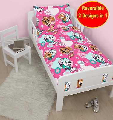 New Paw Patrol Junior Cot Bed Toddler Baby Quilt Duvet Cover Set Girls Pink Bed