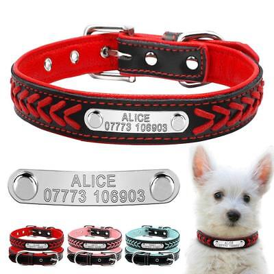Soft Padded Leather Personalised Dog Collars Engraved Puppy Dog Collar Tags XS-L