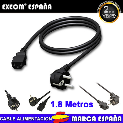 Cable de Alimentación Schuko a IEC PC 1.10m Cable Corriente para Ordenador Pc