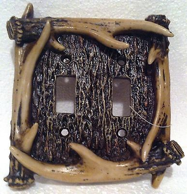 NEW-Poly Resin Whitetail Deer Antler Switch Plate Cover- DOUBLE SWITCH-LOG CABIN