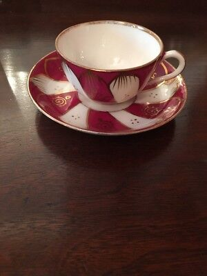 Antique Russian Imperial Porcelain Gardner Kuznetsov Coffee Cup and Saucer Small