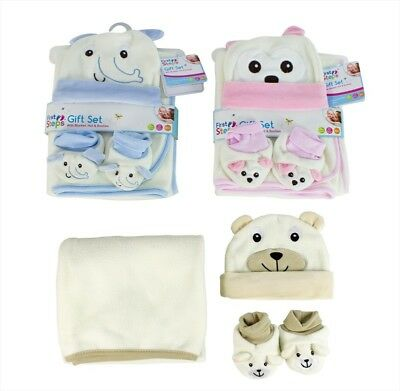 First Steps Baby Gift Set With Blanket Hat Booties 0months+ Soft Fleece