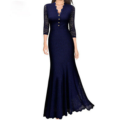 Women Maxi Fishtail Dress Lace Long Formal Cocktail Evening Party Wedding Prom