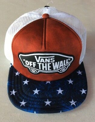 e57ab7064c081c Vans Off The Wall CLASSIC PATCH AMERICAN FLAG Trucker Hat Cap BEACH GIRL