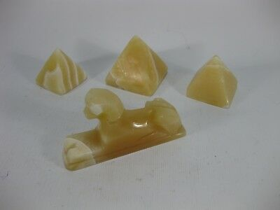 Egyptian Alabaster Pyramid & Sphinx Souvenir Set
