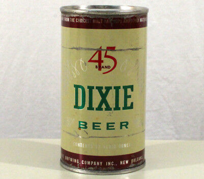DIXIE 45 BRAND FLAT TOP BEER CAN NEW ORLEANS, LOUISIANA NOLA 1950's SOUTH BAYOU+