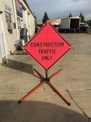 Construction sign stands-Set of 2 Traffix Devices Stands with 2 Roll up signs