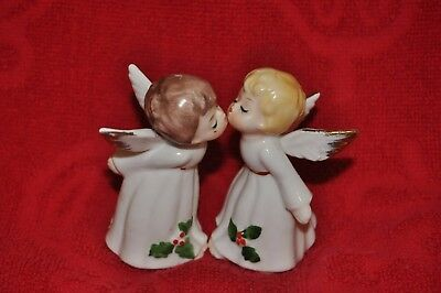 Vintage Bone China Christmas Kissing Angels made in Korea