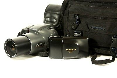 lot of 2 Olympus film point and shoot cameras, IS 10 and stylus zoom dxl
